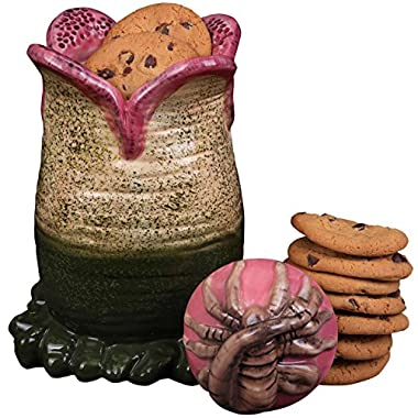 SCS Direct Aliens Ceramic Cookie Jar - Xenomorph Alien Egg with Facehugger Lid - 9.5  x 5.5