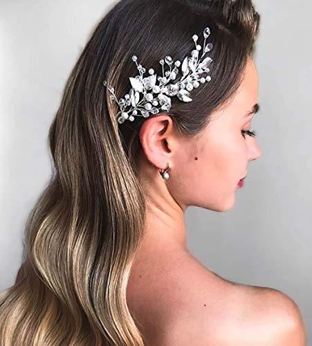 Unicra Brautschmuck Hochzeit Haarschmuck Weinrebe Silber Kopfschmuck Kristall Braut Haarschmuck Kurze Perle Stirnband für Frauen und Mädchen