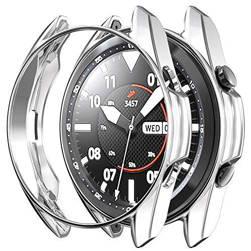 G-RF Funda para Samsung Galaxy Watch 3 41mm/45mm Recubrimiento De TPU Hueca Cubierta (41mm,Plata)