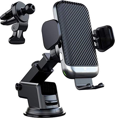Cargador de coche inalámbrico rápido de 15 W, soporte para teléfono con ventilación de aire para salpicadero compatible con iPhone 12 / Mini / 11 / Pro Max/XS/XR/X / 8, Samsung S10 / S9