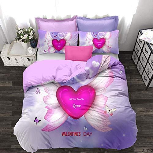 GD-SJK Bed Linen Set Cotton 135 x 200 cm 3D Duvet Cover with 3-Part Super Soft Breathable Zip Pillow Case Girls Love Pink Cotton Renforcé, 3, 200 * 200