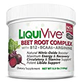 LiquiVive Beet Root Juice Powder - Nitric Oxide Booster Supplement | with BCAA Amino Acids, Vitamin B12 & L-Arginine | N.O. Amino Energy Drink Mix for Immune Support, Endurance, Libido & Circulation