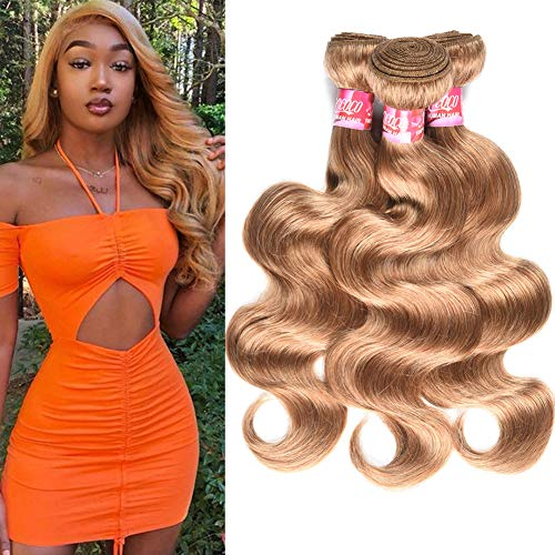 XCCOCO Honely Blonde Body Wave 3 Bundles 16 18 20inch 9A Peruvian 27# Human Hair Bundles 100% Unprocessed Virgin Remy Human Hair Weave(300g/lot)