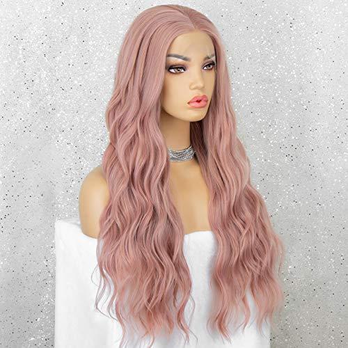 KRYSSMA Peluca de encaje rosa con parte media sin cola larga sintética para las mujeres rosa peluca rizada resistente al calor