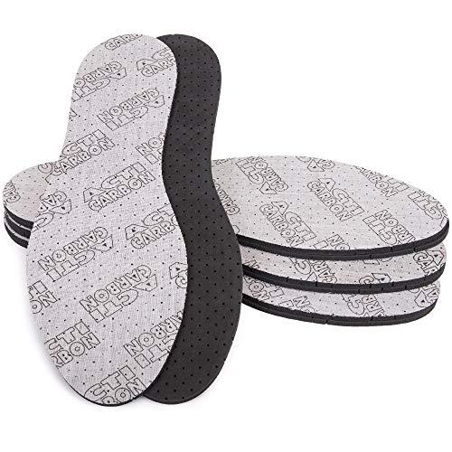 SULPO 4 Paare Einlegesohlen gegen Schweißfüße Acti Carbon Einlagen mit Aktivkohle für Damen und Herren Schuheinlagen anit Schweiß fuer Arbeitsschuhe und Gummistiefel/Größe 36-46 (38)