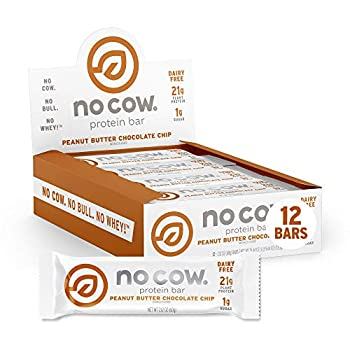 No Cow Protein Bars Peanut Butter Chocolate Chip 21g Plant Based Vegan Protein Keto Low Sugar Low Carb Low Calorie Gluten Free Naturally Sweetened Dairy Free Non GMO Kosher 12 Pack