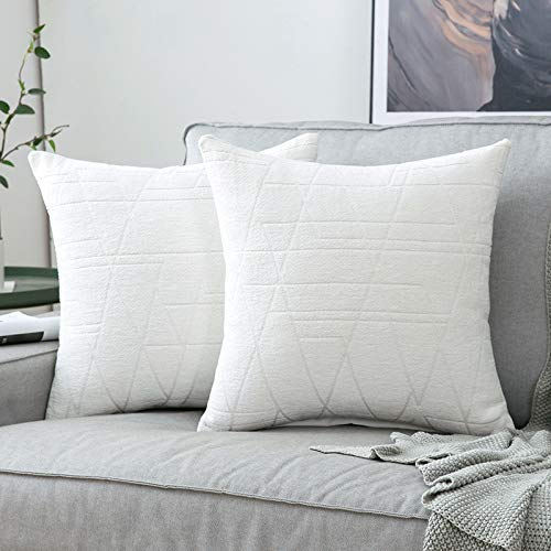 MIULEE Pack of 2 Cushion Covers, Ray Pattern Decorative Square Throw Pillow Case Pillowcases for Couch Livingroom Sofa Bed with Invisible Zipper 45cm x 45cm,18x18 Inches, 2 Pieces White