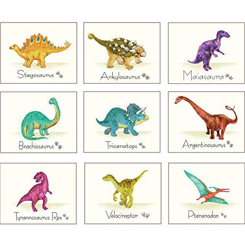 9 Stücke Dinosaurier Wand Kunst Druck Dinosaurier Poster Wandtattoos mit Ungerahmt Bildern Dinosaurier Geburtstag Geschenk für Kinderzimmer Dekorationen