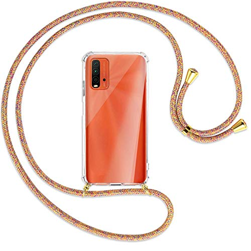 mtb more energy® Collar Smartphone para Xiaomi Redmi 9T (6.53  ) -  Rainbow/Oro -  Funda Protectora ponible -  Carcasa Anti Shock con Cuerda Correa