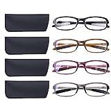 DOOViC 4 Pack Computer Reading Glasses Blue Light Blocking Anti Eyestrain Flexible Lightweight Readers for Women Men 2.0 Strength