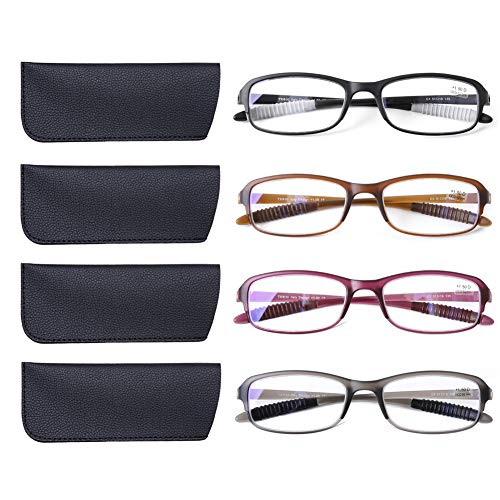 DOOViC 4 Pack Computer Reading Glasses Blue Light Blocking Anti Eyestrain Flexible Lightweight Readers for Women Men 2.0 Strength