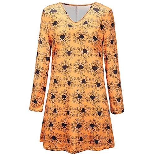 Sommerkleid Kurz Halloween Kostüm Damen Mittelalter Kleid Sommerkleider Damen Kurz Halloween Kostüm Elegante Kleider Sommerkleid Midi Halloween Schminke Figurumspielende(Gelb,M)