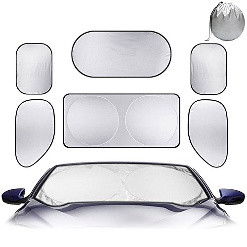 Foldable Sun Shade Set for Car Windows - 6 packs Sunshade for Vehicle All Windows