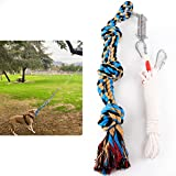 Spring Pole Dog Rope Toy, Strong Tug of War Toys for Pitbull, Medium or Large Dogs, Outdoor Hanging Exercise Play Pull Dog Toys Muscle Builder (Blue & White)