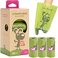 Earth Rated Dog Poop Bags, Extra Thick and Strong Poop Bags for Dogs, Guaranteed Leak-Proof, 8 Rolls, 15 Doggy Bags Per Roll, Each Dog Poop Bag Measures 9 x 13 Inches