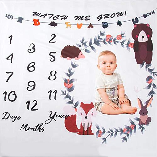 Manta de hito mensual para bebés,Accesorios de fotografía hito de la manta de bebé,manta de la foto del bebé (D)