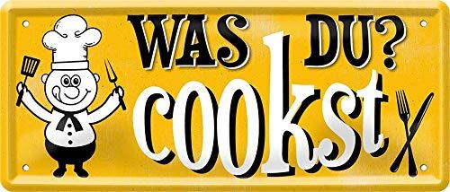 Qu'est-ce Que Vous cuisinez ? Koch 1470 Plaque décorative en tôle décorative Inscription Humoristique 28 x 12 cm