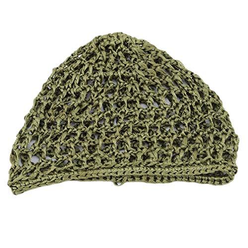 LJSLYJ les Femmes Crochetés à la Main des Cheveux Tissés Accessoires de Filet Net Élastiques de Cheveux Net Bonnet de Sommeil, Vert