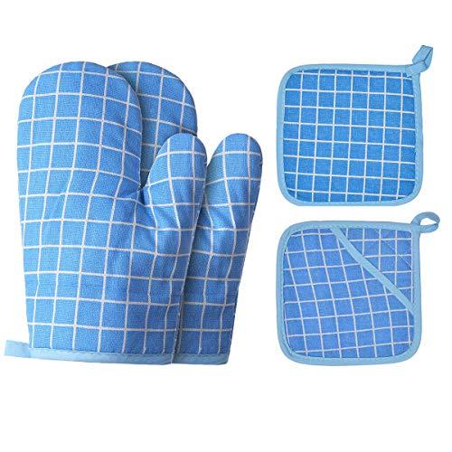 Jopath Manoplas de horno y agarraderas, guantes de barbacoa, manoplas de horno y soportes para ollas con relleno de algodón reciclado