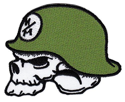 Totenkopf Stahlhelm Aufnäher Bügelbild