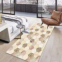 幾何学的な廊下の敷物、滑り止めの敷物、幅:60/80/100/120/cm、洗える寝室のリビングルームのホールの長い区域のカーペット(Size:60×400cm)