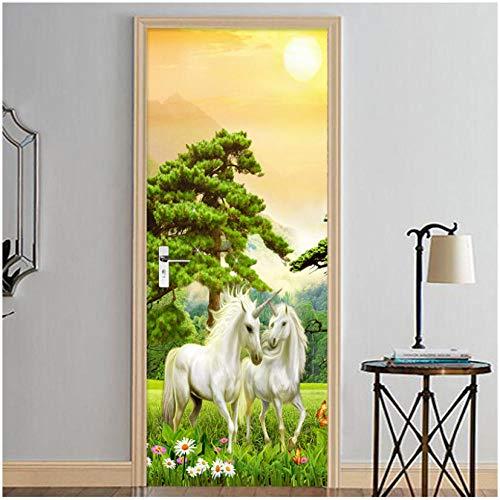3D deursticker creatieve decoratie voor thuis woonkamer slaapkamer kinderkamer vinyl afneembaar PVC bos groen planten boom bloem wit paard 90x200cm