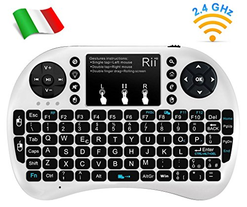 Rii, Mini i8+, Wireless-Mini-Tastatur mit Mouse-Touchpad und Hintergrundbeleuchtung für Smart TV, Mini PC, HTPC, Konsole, Computer (italienisches Layout) i8+ Wireless (BIANCO)