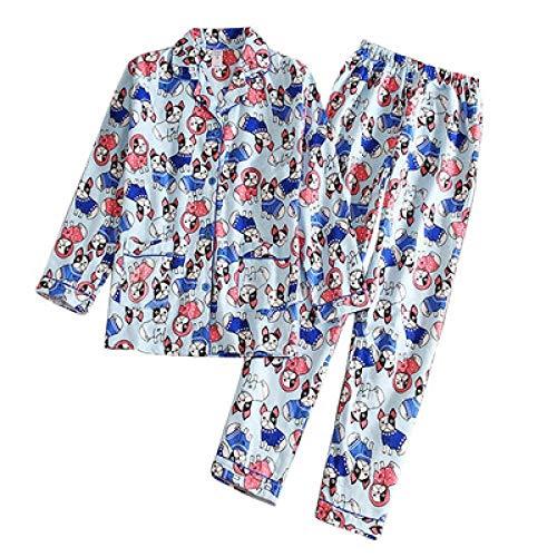 N/C Pyjamas Frauen Bulldogge Print Gebürstete Baumwolle Hellblau 2-teiliges Set Langarm Elastic Waist Lounge Pyjamas S Hellblau