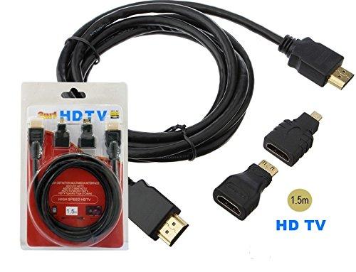 takestop® 3in1 YF HDMI A Mini Micro HDMI Adapter 1.5 MT HD TV Tablet PC HDTV Xbox 360 PS3 Computer Camera