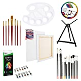 U.S. Art Supply 39-Piece Acrylic Artist Painting Set - Aluminum Table Easel, 12 Acrylic Colors, Stretched...
