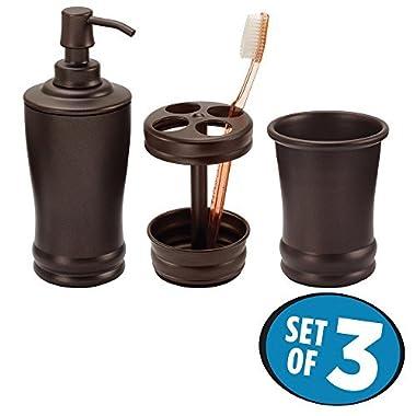 mDesign Classic Soap Dispenser Pump, Toothbrush Holder Stand, Tumbler for Bathroom Vanities - Set of 3, Bronze