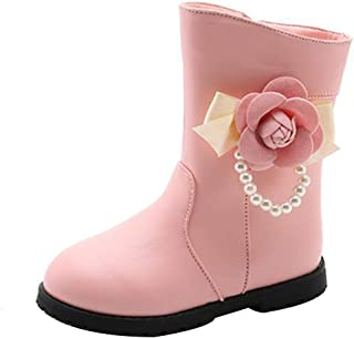 Inlefen Girls Winter Warm Princess Snow Boots Fashion Floral Pearl Cotton Shoes Convenient Wear and Tear Non-Slip Boots with Zipper