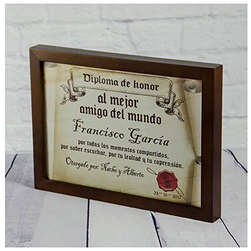 Calledelregalo Diplomas pergamino Personalizados para Todos los destinatarios (Al Mejor Amigo) con Marco