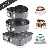 Cake Pan 3 Pieces/Set,Heart/Round/Square Springform Cake Tins Cheesecake Pan,Nonstick and Leakproof Cake Pan...