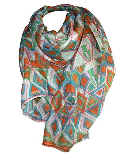 Heine Damen Schal Stola Tuch scarf echarpe Ethnoprint orange grün blau