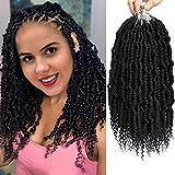 MIRRA'S MIRROR Bomb Twist Crochet Hair 6 Packs 14inch Passion Twist Hair Spring Twist Hair Pre looped Pre twisted Crochet Hair Synthetic Braiding Hair for Women (1B)
