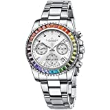 Womens Rainbow Diamond Watches Chronograph Stainless Steel Waterproof Date Analog Quartz Unisex Watch Business Fashion Wrist Watches for Girl (Silver)