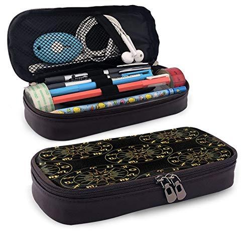 Helios Time Federmäppchen, großes Fassungsvermögen, strapazierfähiges Leder, Make-up-Tasche mit Reißverschluss, für Schule und Büro