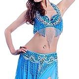 MoLiYanZi 9 Colores Danza del Vientre Rendimiento Traje de Abalorios Traje Brillante Top cinturón Falda 3pcs, 8, M