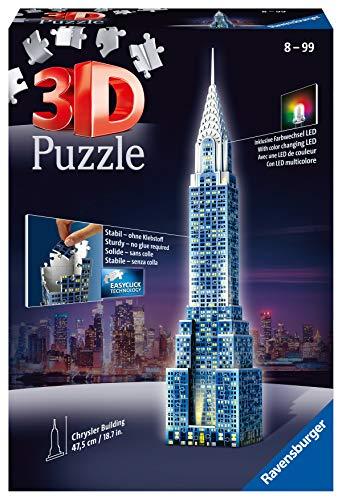 Ravensburger - Chrysler Building edición Nocturna, Puzzle 3D con 216 Piezas y Accesorios (125951)