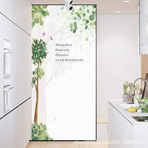 TFOOD Vinyl raamfolie voor ramen, esthetische boom, eenvoudige vlinder, dieren, statische privacy, zelfklevend, mat glas