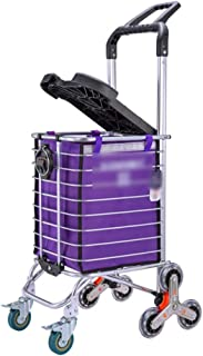 Shopping Trolleys Shopping Cart Shopping Trolley Aluminum Alloy with Lid Shopping Folding Wheeled Trolley Elderly Light Shopping Cart (Color : Purple, Size : B)