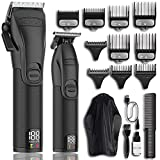 Professional Hair Clippers and Trimmer Kit for Men - Cordless Barber Clipper Hair Cutting Kit, Beard T Outliner Trimmers Haircut Grooming Kit