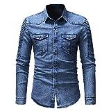 YOUQU Jeanshemd Herren Langarm Slim Fit Oxford Button Up Lässiger Turndown-Kragen Aus Baumwolle Cowboy Oversize Bluse, Hellblau, L.