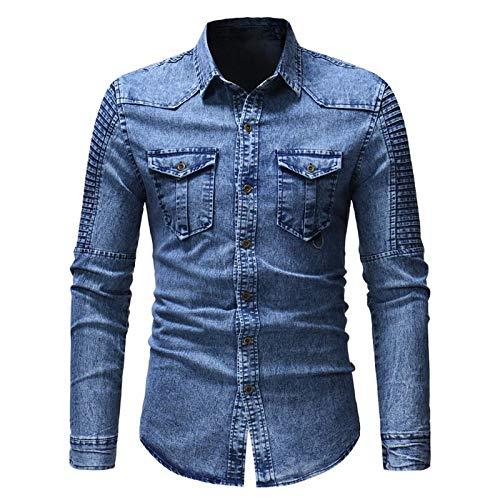 YOUQU Jeanshemd Herren Langarm Slim Fit Oxford Button Up Lässiger Turndown-Kragen Aus Baumwolle Cowboy Oversize Bluse, Hellblau, M.