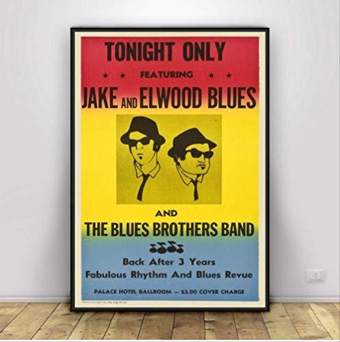 nobrand Poster Blues Brothers Vintage Film Tv Serie Klassische Leinwand Ölgemälde Kunst Wandbilder Wohnzimmer Wohnkultur 50 * 70 cm Kein Rahmen