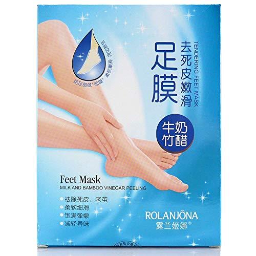 ROLANJONA Milk Bamboo Vinegar Foot Feet Baby Mask Peeling Tendering Dead Skin Remover (7PCS BOX)