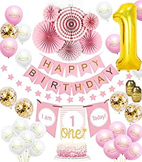 1st Birthday Girl Decorations set   Baby Girl 1st Birthday Pink Princess Theme kit, Happy Birthday Banner, High Chair Banner, Huge 1 Balloon, Pink Tissue Paper Fans, One Cake Topper