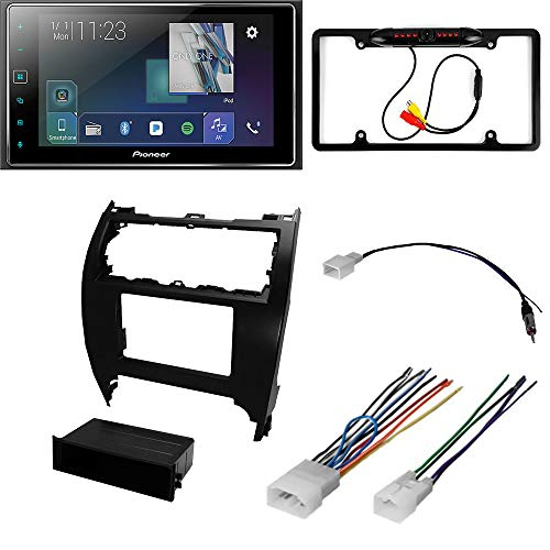 CACHÉ KIT3666 Bundle with Apple CarPlay Digital Multimedia Car Stereo with Bluetooth, Backup Camera for 2012 – 2014 Toyota Camry/Touchscreen Receiver, Double Din Installation Dash Kit (5Item)