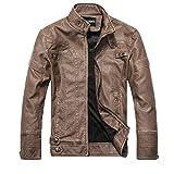 Manteau Homme Chaud Hivers en Cuir à La Mode Slim Vestes en Cuir Zippé Couleur Unie Casual Jaker Pardessus Duffle Coat (L, Marron)
